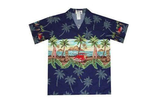 Boy's Hawaiian Shirts S / Navy Blue Tiki and Woody Boy's Hawaiian Shirt