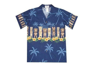 Boy's Hawaiian Shirts S / Navy Blue Tiki Statues Boy's Hawaiian Shirt