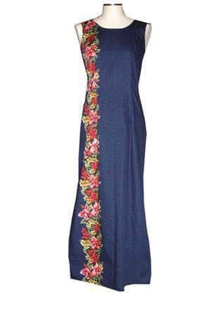 Long Tank Dress S / Navy Blue Tiny Orchid Lei Long Tank Hawaiian Dress
