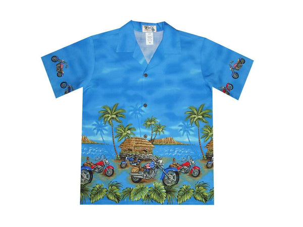 Boy's Hawaiian Shirts S / Navy Blue Tropical Motorcycles Boy's Hawaiian Shirt