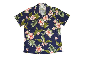 Hawaiian Blouse S / Navy Blue w/ Coral Hibiscus Garden Women's Hawaiian Shirt