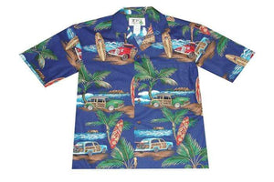 Hawaiian Shirt S / Navy Blue Woody Surf Hawaiian Shirt