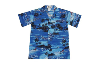 Boy's Hawaiian Shirts S / Navy Blue World War 2 Planes Boy's Hawaiian Shirt