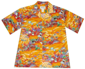 Hawaiian Shirt S / Orange Coral Reef Hawaiian Shirt