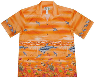 Hawaiian Shirt S / Orange Great White Shark Hawaiian Shirt