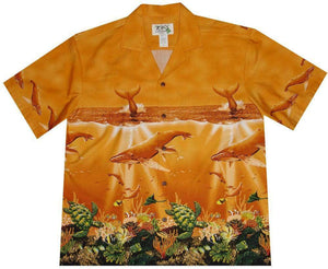 Hawaiian Shirt S / Orange Humpback Whale Hawaiian Shirt