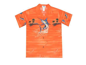 Boy's Hawaiian Shirts S / Orange Jumping Marlin Boy's Hawaiian Shirt