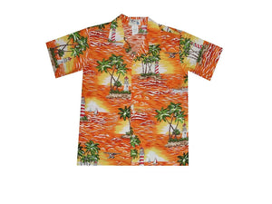 Boy's Hawaiian Shirts S / Orange Lighthouse Wave Boy's Hawaiian Shirt