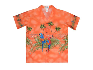 Boy's Hawaiian Shirts S / Orange Parrot Paradise Boy's Hawaiian Shirt