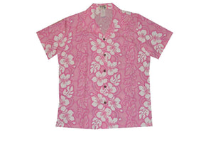 Hawaiian Blouse S / Pink Hibiscus Lei Women's Hawaiian Shirt