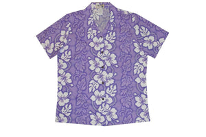 Hawaiian Blouse S / Purple Hibiscus Lei Women's Hawaiian Shirt
