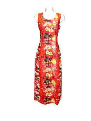 Long Tank Dress S / Red Classic Discovery Long Tank Hawaiian Dress