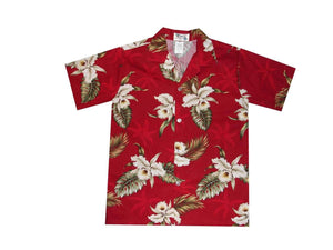 Boy's Hawaiian Shirts S / Red Classic Orchid Boy's Hawaiian Shirt