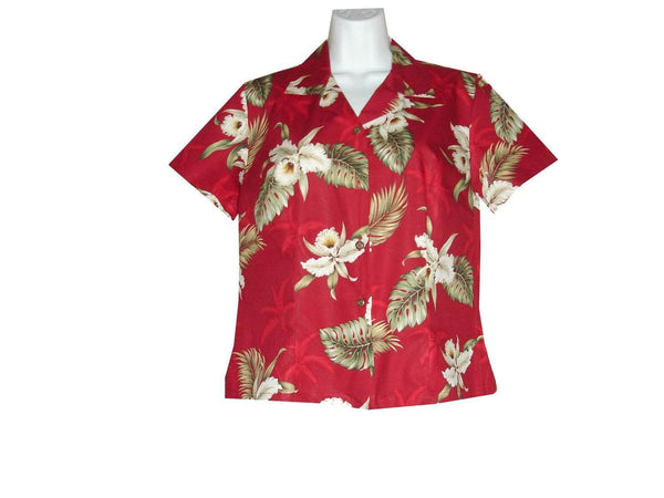 Girl's Hawaiian Blouse S / Red Classic Orchid Girl's Hawaiian Blouse