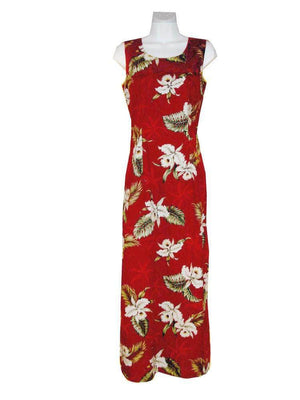 Long Tank Dress S / Red Classic Orchid Long Tank Hawaiian Dress