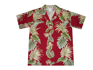 Boy's Hawaiian Shirts S / Red Hawaiian Leaves Boy's Hawaiian Shirt