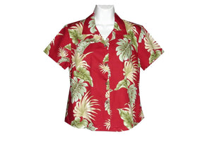 Girl's Hawaiian Blouse S / Red Hawaiian Leaves Girl's Hawaiian Blouse