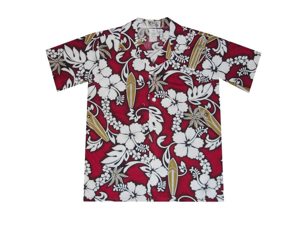 Boy's Hawaiian Shirts S / Red Hibiscus and Surfboard Boy's Hawaiian Shirt