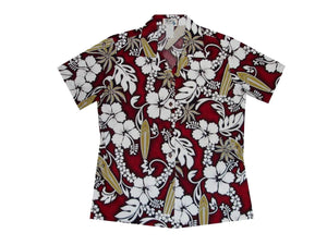 Hawaiian Blouse S / Red Hibiscus and Surfboard Women's Hawaiian Shirt