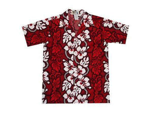 Boy's Hawaiian Shirts S / Red Hibiscus Lei Boy's Hawaiian Shirt