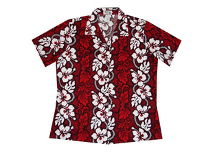 Hawaiian Blouse S / Red Hibiscus Lei Women's Hawaiian Shirt