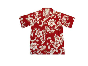 Boy's Hawaiian Shirts S / Red Hibiscus Silhouette Boy's Hawaiian Shirt
