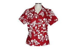 Girl's Hawaiian Blouse S / Red Hibiscus Silhouette Girl's Hawaiian Blouse
