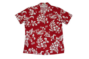 Hawaiian Blouse S / Red Hibiscus Silhouette Women's Hawaiian Shirt