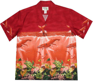 Hawaiian Shirt S / Red Humpback Whale Hawaiian Shirt