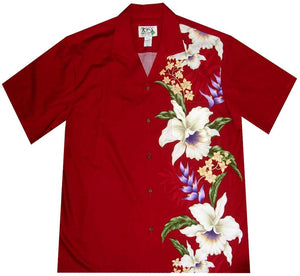 Hawaiian Shirt S / Red Macaw Flower and Orchid Hawaiian Panel Shirt