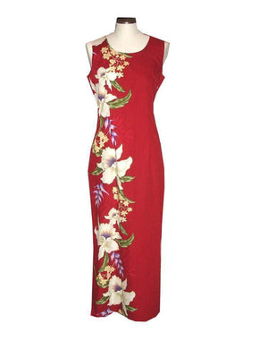 Long Tank Dress S / Red Macaw Flower and Orchid Long Tank Hawaiian Dress
