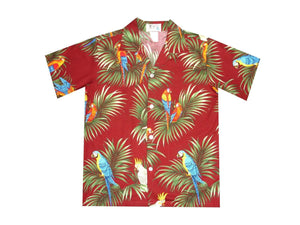 Boy's Hawaiian Shirts S / Red Parrot Forest Boy's Hawaiian Shirt
