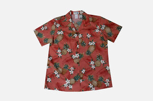 Hawaiian Blouse S / Red Pineapple Mania Women's Hawaiian Shirt