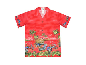 Boy's Hawaiian Shirts S / Red Tropical Motorcycles Boy's Hawaiian Shirt