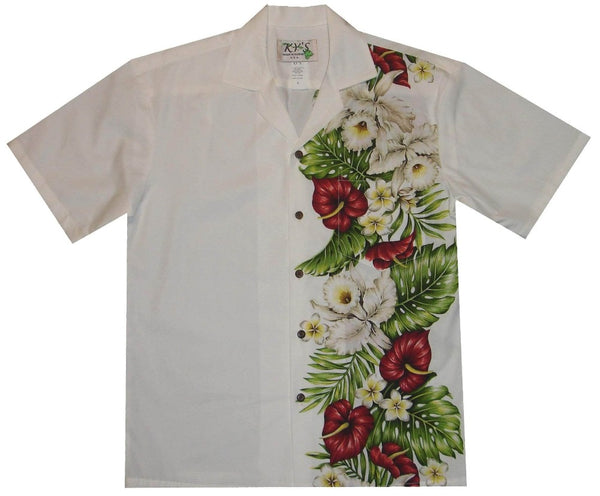 Hawaiian Shirt S / White Anthurium and Orchid Hawaiian Panel Shirt