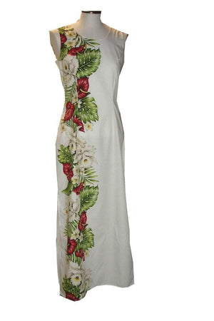 Long Tank Dress S / White Anthurium and Orchid Long Tank Hawaiian Dress