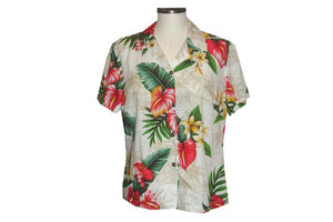 Girl's Hawaiian Blouse S / White Anthurium Flowers Girl's Hawaiian Blouse