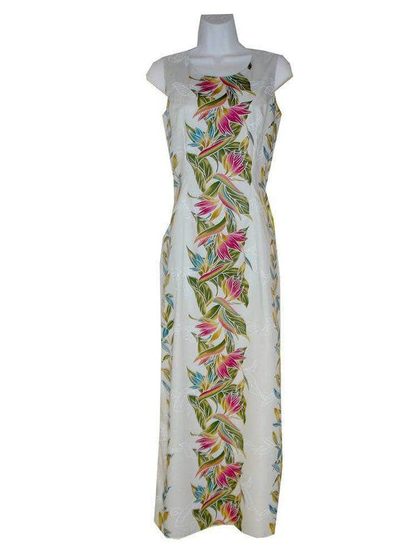 Long Tank Dress S / White Bird of Paradise Floral Long Tank Hawaiian Dress
