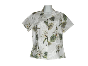Girl's Hawaiian Blouse S / White Classic Orchid Girl's Hawaiian Blouse