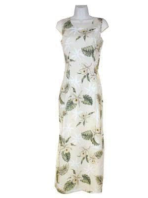 Long Tank Dress S / White Classic Orchid Long Tank Hawaiian Dress