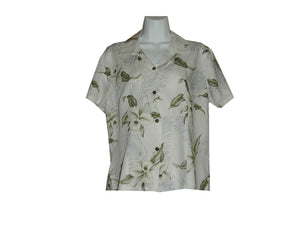 Girl's Hawaiian Blouse S / White Garden Orchid Girl's Hawaiian Blouse