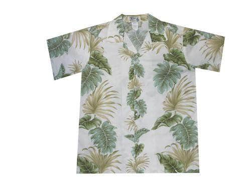 Boy's Hawaiian Shirts S / White Hawaiian Leaves Boy's Hawaiian Shirt