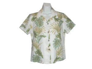 Girl's Hawaiian Blouse S / White Hawaiian Leaves Girl's Hawaiian Blouse