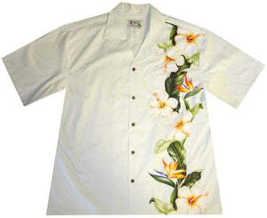 Hawaiian Shirt S / White Hibiscus and Bird of Paradise Hawaiian Shirt