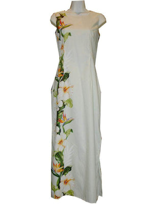 Long Tank Dress S / White Hibiscus and Bird of Paradise Long Tank Hawaiian Dress