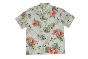 Hawaiian Shirt S / White Hibiscus and Orchid Hawaiian Shirt