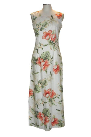 Long Tank Dress S / White Hibiscus and Orchid Long Tank Hawaiian Dress