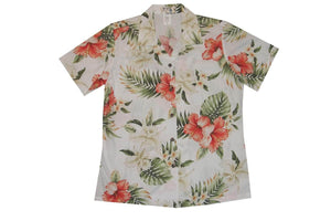Hawaiian Blouse S / White Hibiscus and Orchid Women's Hawaiian Shirt