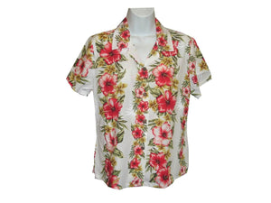 Girl's Hawaiian Blouse S / White Hibiscus Floral Panel Girl's Hawaiian Blouse
