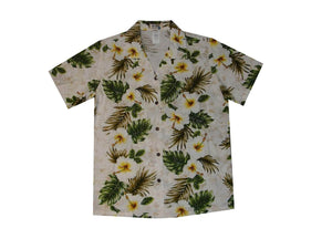Hawaiian Blouse S / White Hibiscus Panel Women's Hawaiian Shirt